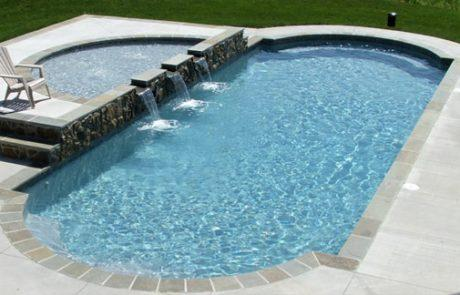 oval pool with fountains