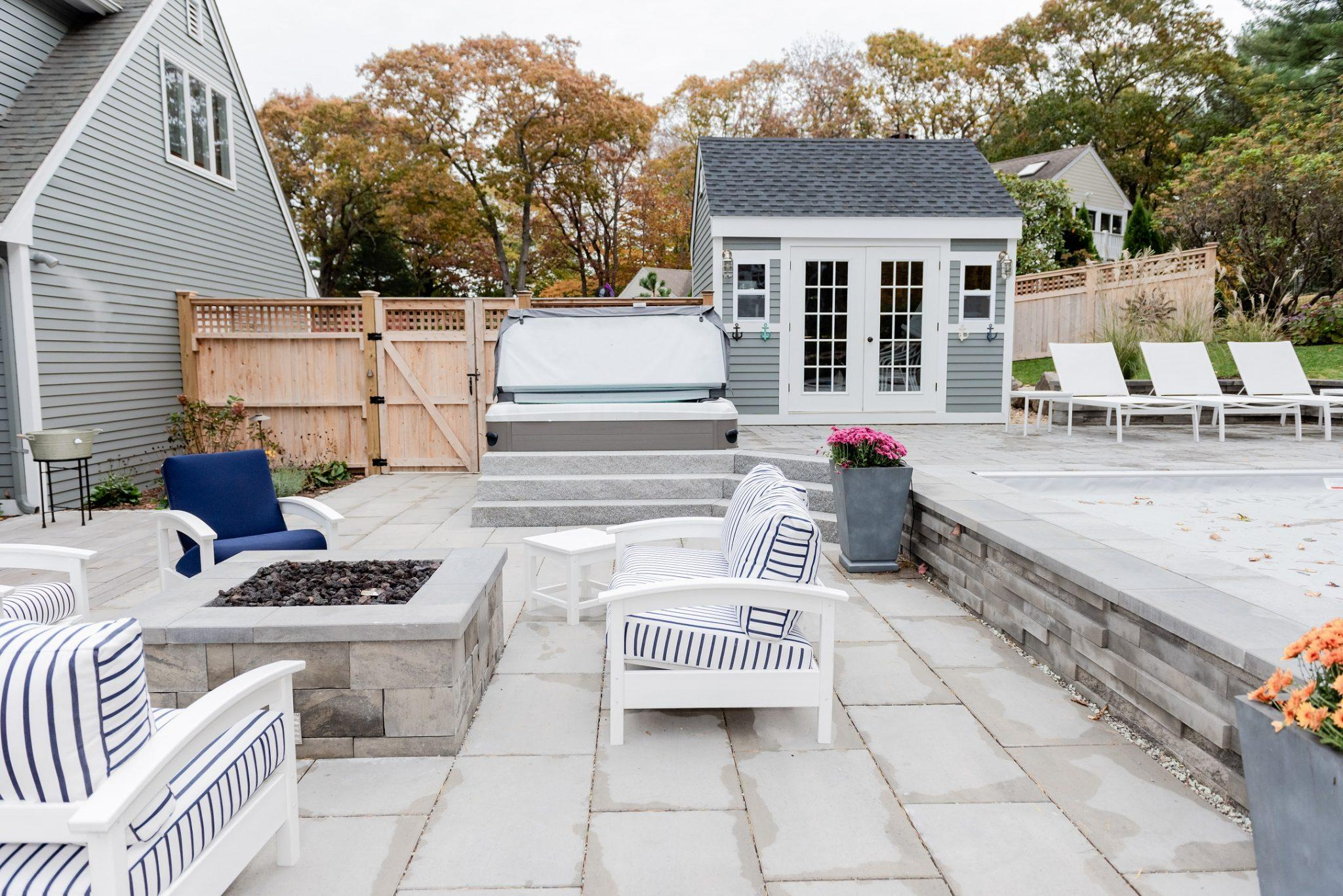 stone patio with custom fire pit