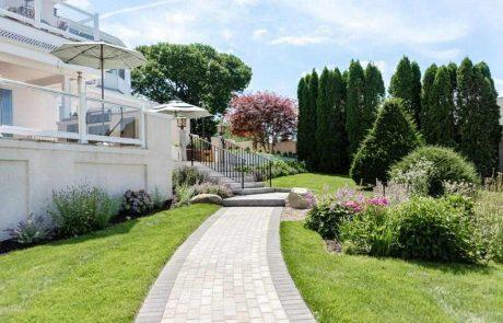 landscaping with stone pathway