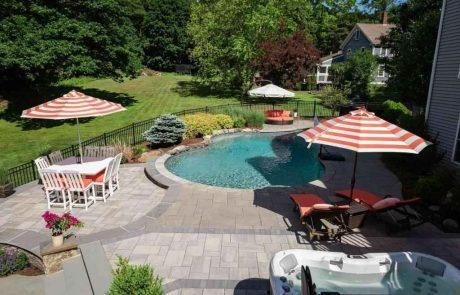 inground pool with landscaping